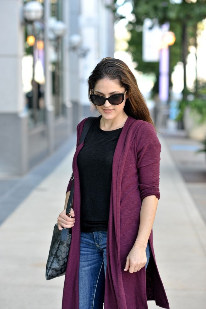 Stitch Fix Plum Cardigan & Black Tee
