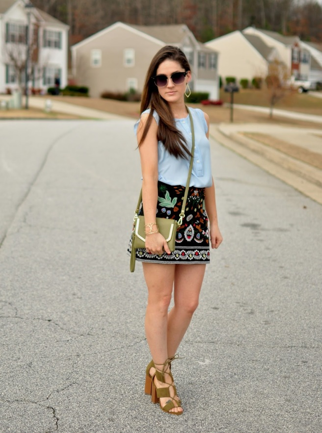 Shein Mini Skirt with Embroidery